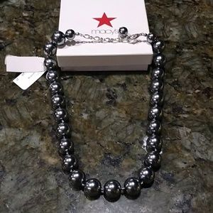 CHARTER CLUB Pewter Ball Necklace Macy's Exclusive
